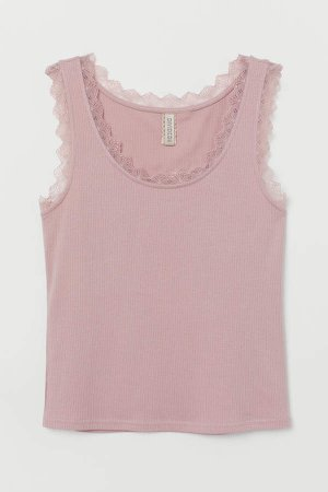 Ribbed Tank Top with Lace - Pink