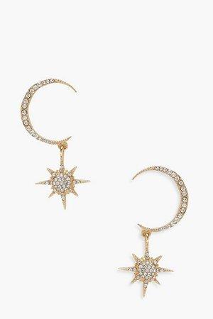 Moon & Star Diamante Statement Earrings | Boohoo