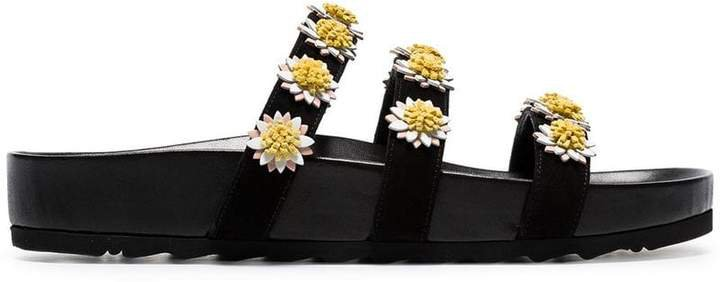 Fabrizio Viti black daisy embellished suede and leather sandals