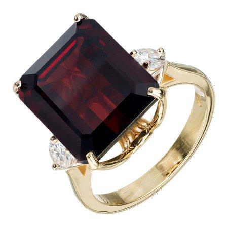 11.85 Carat Emerald Cut Garnet Diamond Yellow Gold Three-Stone Ring