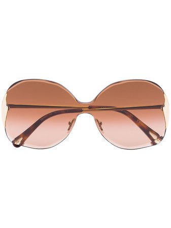Chloé Eyewear Curtis Square-Frame Sunglasses CE162S Brown | Farfetch