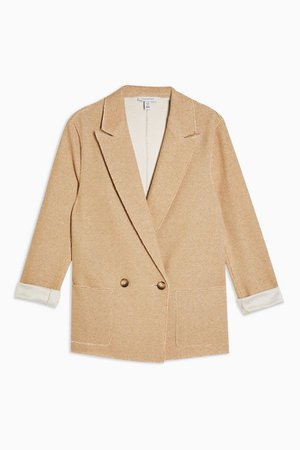 Tan Raw Edge Jersey Double Breasted Blazer | Topshop