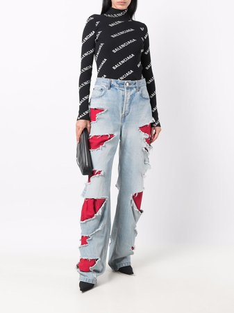 Shop Balenciaga ripped straight-leg jeans with Express Delivery - FARFETCH