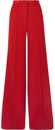 Wool Wide-leg Pants - Red