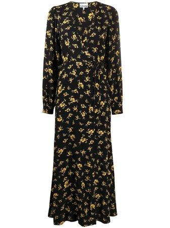GANNI Maxi Floral Print Wrap Dress - Farfetch