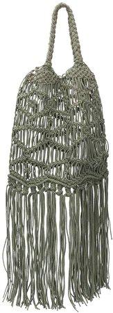 fringed woven shoulder bag