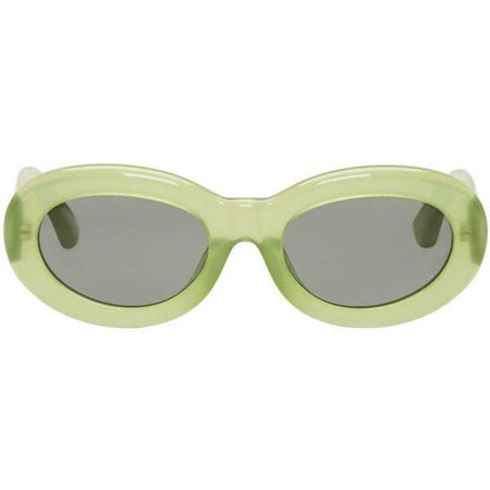 Dries Van Noten Green Linda Farrow Edition Oval Sunglasses