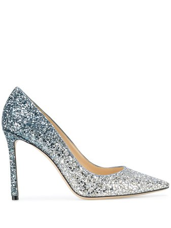 Shop silver Jimmy Choo Romy 100 stiletto pumps with Express Delivery - Farfetch