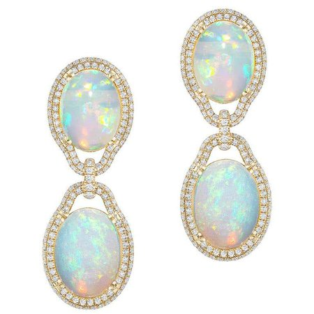 Opal Cabochon Earring with Diamonds For Sale at 1stDibs