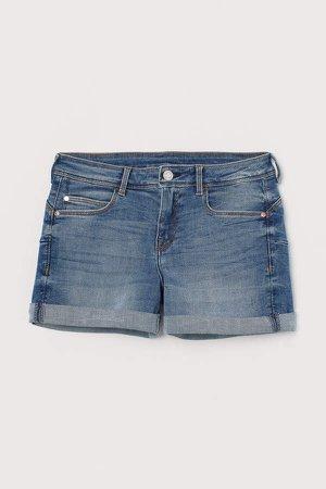 Low Waist Push-up Shorts - Blue