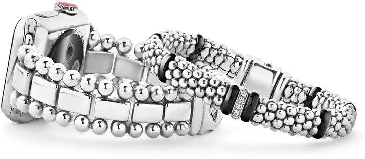 Smart Caviar Sterling Silver Watchband for Apple Watch(R) & Black Caviar Bracelet Set