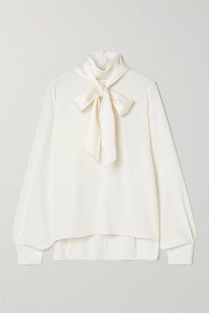 Ivory Pussy-bow silk-satin blouse | Adam Lippes | NET-A-PORTER