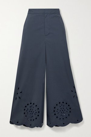 Broderie Anglaise Cotton-blend Poplin Culottes - Navy