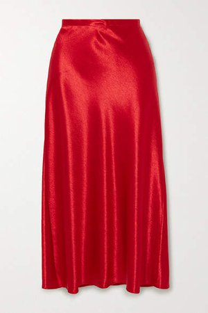 Aliya Hammered-satin Midi Skirt