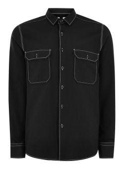 Topman: Black Top Stitch Long Sleeve Shirt