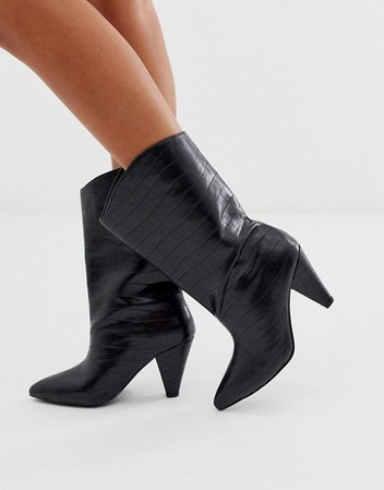 ASOS DESIGN Experiment pull on boots in black croc | ASOS
