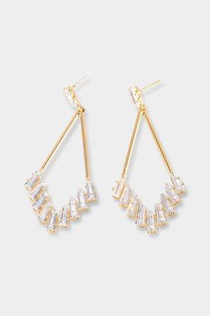 Catherine CZ Baguette Teardrop Earrings | francesca's