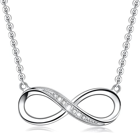 Amazon.com: Infinity Pendant Necklace For Women, 925 Sterling Silver Love Heart Necklace Jewelry Gold Plated: Clothing