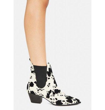 Cowprint Ankle Boots - Black   Dolls Kill