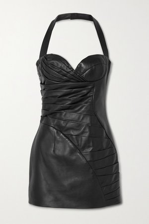 Pleated Leather Halterneck Mini Dress - Black