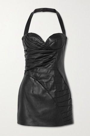 Pleated Leather Halterneck Mini Dress - Black
