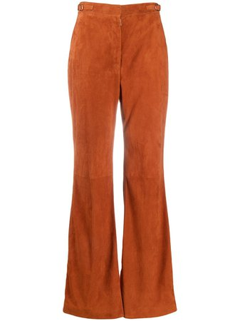 Shop orange Gabriela Hearst flared silk trousers with Express Delivery - Farfetch