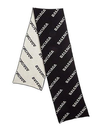 Balenciaga Logo Wool Scarf | SaksFifthAvenue