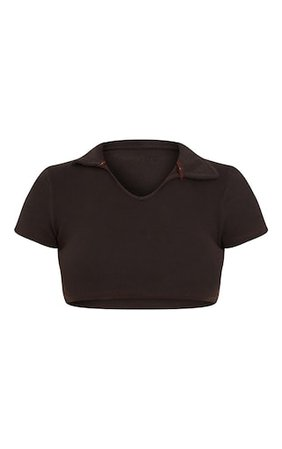 Chocolate Rib Collar Detail Short Sleeve Crop Top | PrettyLittleThing USA