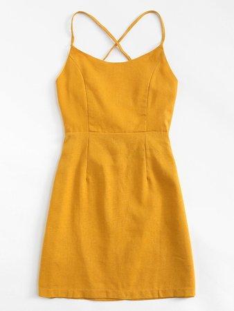 Lace Up Back Cami Dress | ROMWE