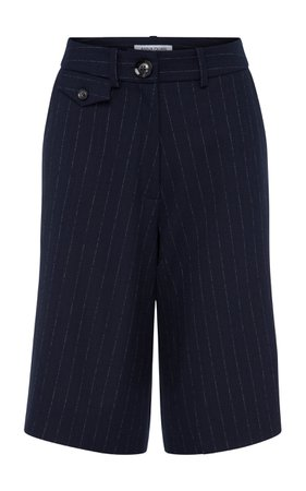 Anna Quan Rae Pinstriped Crepe Shorts Size: 10