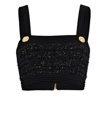 1 Balmain Lurex Tweed Crop Top | INTERMIX®