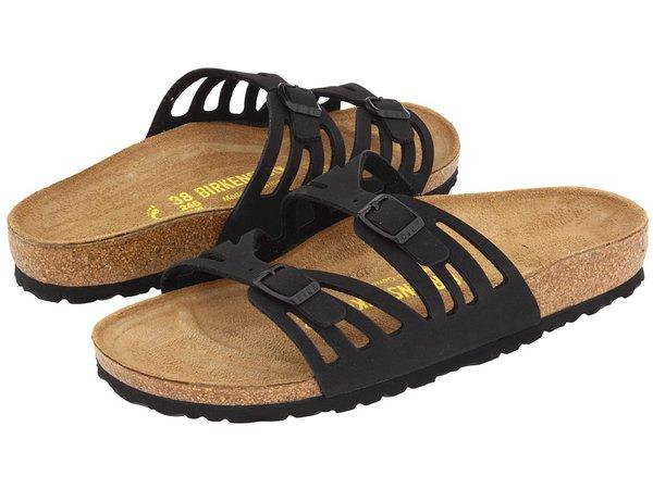 Birkenstock - Granada Birkibuctm (Black Birkibuc) Women's  Shoes