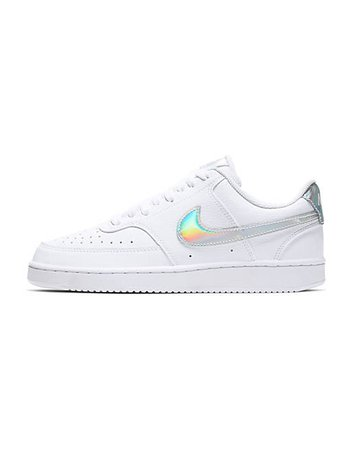 Nike Court Vision Low leather sneakers in white/iridescent | ASOS