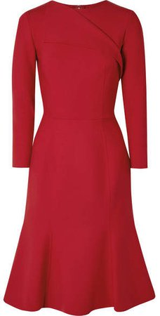 Draped Wool-blend Dress - Red