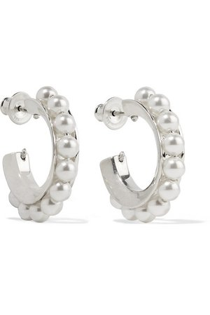Sophie Buhai | Silver pearl hoop earrings | NET-A-PORTER.COM