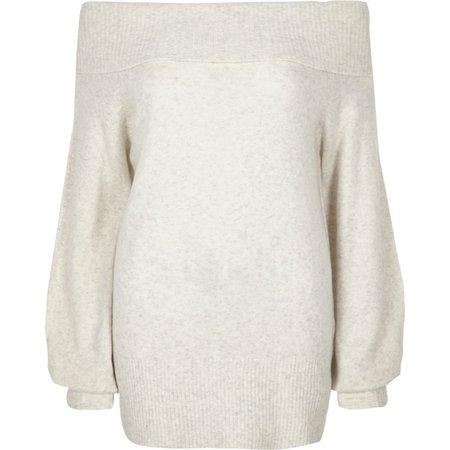 Cream knit bardot jumper - Knit Tops - Knitwear - women