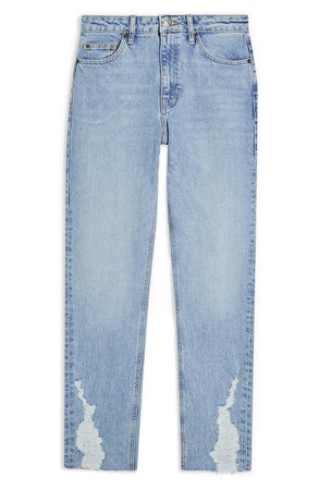 Topshop Dundee Ripped Cuff Straight Leg Jeans | Nordstrom