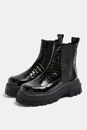 ALPHA Black Crocodile Chunky Chelsea Boots | Topshop