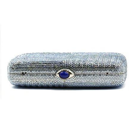 Judith Leiber Full Rectangle Minaudiere Evening Blue Crystal Clutch - Tradesy