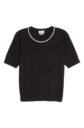 kate spade new york imitation pearl and crystal pavé detail sweater | Nordstrom