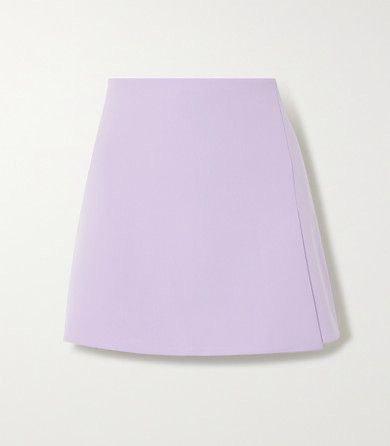 ALICE + OLIVIA Sherilyn wrap-effect grain de poudre mini skirt