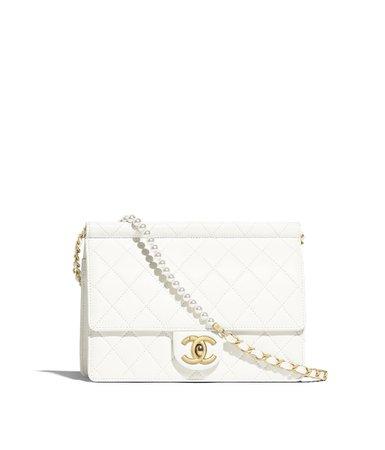 Flap Bag, lambskin, imitation pearls & gold metal, white - CHANEL