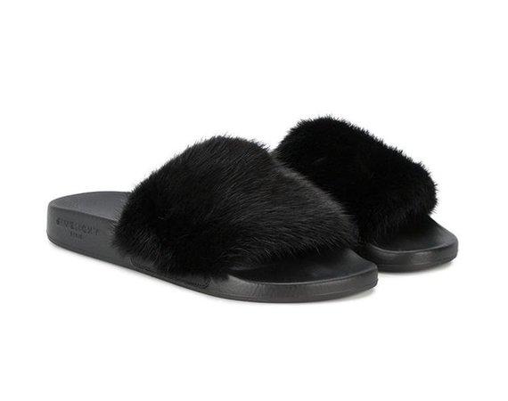 Givenchy Black Paris Noir Mink Fur Mule Pool Slide Flipflop Flat Sandals