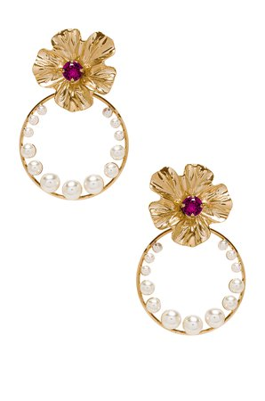 Flower Pearl Hoops