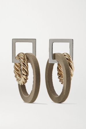 Gold Les Boucles Albi flocked silver- and gold-tone earrings   Jacquemus   NET-A-PORTER