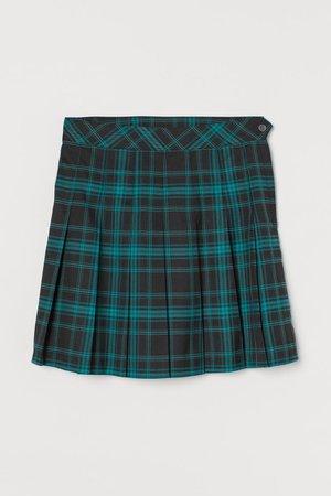 Pleated Skirt - Teal black checked plaid - Ladies   H&M US