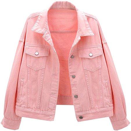 LifeShe Women's Basic Button Down Denim Jean Jacket Coat at Amazon Women's Coats Shop