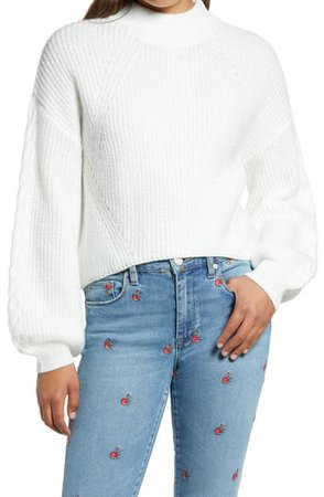 BP. Cable Knit Balloon Sleeve Sweater | Nordstrom