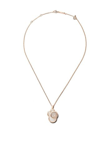 Chopard 18Kt Rose Gold Happy Dreams Mother-Of-Pearl And Diamond Pendant Necklace 7998885008 | Farfetch
