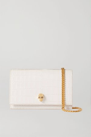 White Skull croc-effect leather shoulder bag | Alexander McQueen | NET-A-PORTER